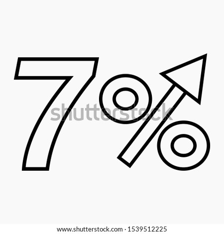 The transparent figure is 7  percent increase. Price increase icon.  Sales. Profit growth. Increase revolutions. The increase in interest in the bank. Quality improvement. Icon of internet shops.