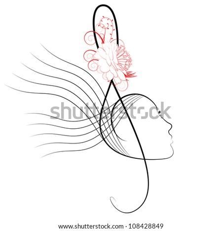 The treble clef stylised under a female profile