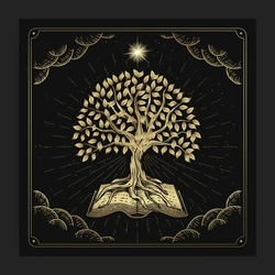 The tree of knowledge with ancient books with engraving, hand drawn, luxury, celestial, esoteric, boho style, fit for spiritualist, religious, paranormal, tarot reader, astrologer or tattoo vector
