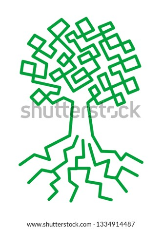 The tree of life. Tree drawn by a single line character drawing. Vector graphics.