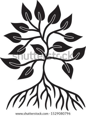 The tree of life with the sun in center of mandala. Symbolic spiritual symbol. Vector graphics art.
