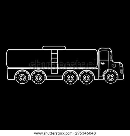 The truck big car transportation of gas liquids milk water fish transportation. Black and white silhouette of the car