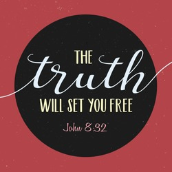 The Truth with set you free Bible Scripture Verse Typography Design from gospel of John on black circle frame on red distressed vintage background