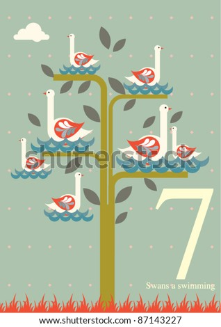 The twelve days of Christmas - seventh day of Christmas - seven swans a swimming