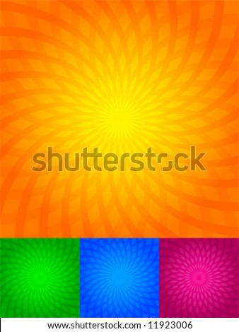 The twirled rays of light, orange, green, blue, pink, background