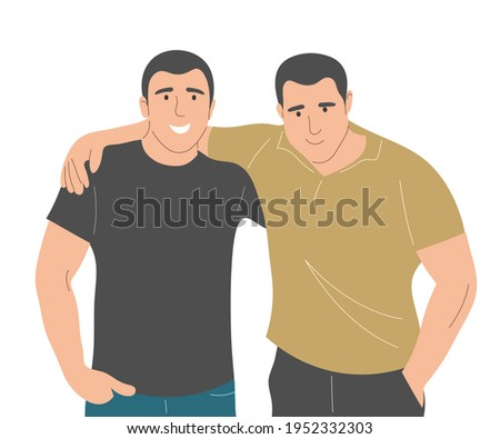 The two men embrace in a brotherly way. Portrait of friends. Flat vector illustration. Foto stock ©