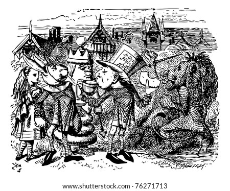 The Two Messengers - Through the Looking Glass and what Alice Found There original book engraving.  Hatta made a desperate effort, and swallowed a large piece of bread-and-butter.
