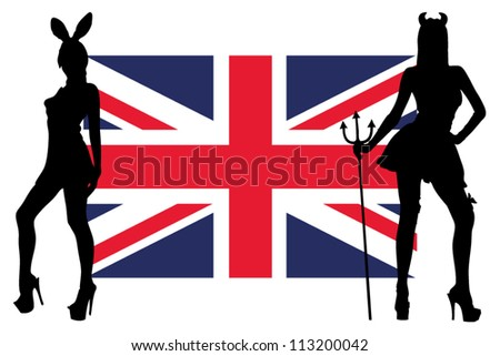 The United Kingdom flag with silhouettes of women in sexy costumes