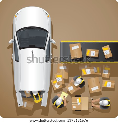 The united team of employees of the delivery service makes loading and unloading of parcels and freights in the white car of the delivery service of freights and correspondence on a brown background.