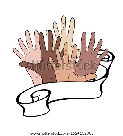 The unity of peoples. Hands of people of different nationalities with a ribbon. Day of tolerance and self-acceptance. The object is separate from the background. Vector object for greeting cards,