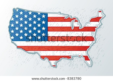 the USA map with the usa flag inside in engrave style II