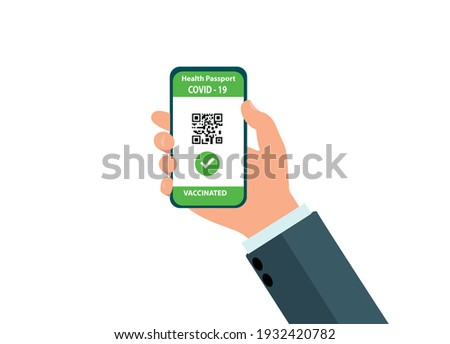The vaccinated person using the digital health passport application on their mobile phone to travel during the COVID-19 outbreak, vektor EPS 10. Stock foto ©