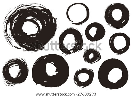 The various circles that I drew with a brush - stock vector