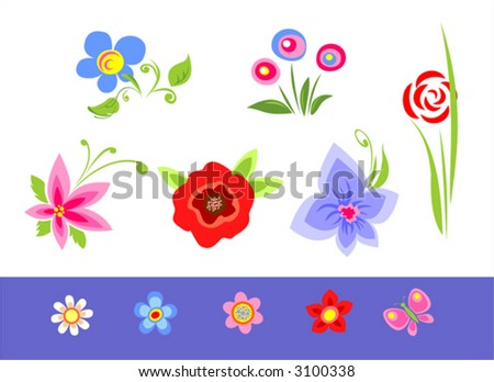 The various color stylized flowers on a white-blue background.