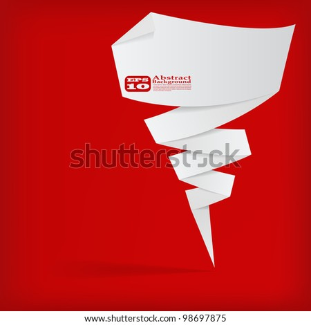 the vector abstract white origami banner on red background