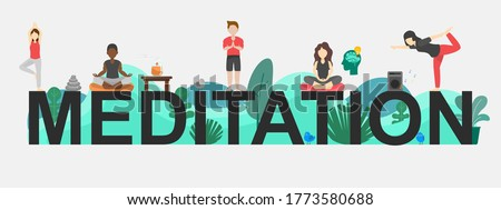 The vector banner of Meditation topic. Creative flat design for web banner, business presentation, online article.