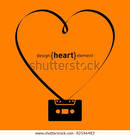The vector design element heart from tape and audiocassette