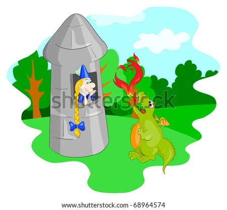 The vector dragon and  princess in the tower