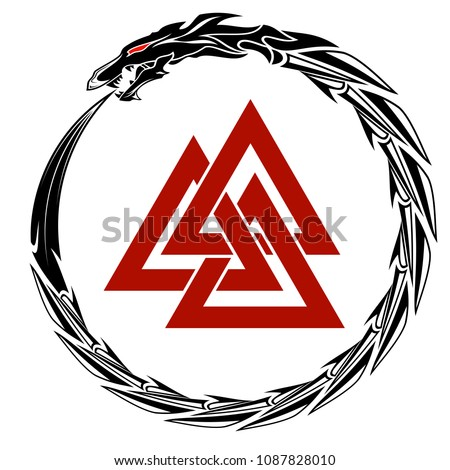 The vector drawing of the dragon biting the tail against the background of three crossed triangles. Sacred sign of Vikings. Sacred geometry. Sacral symbol. Fantastic monster. Norman culture.