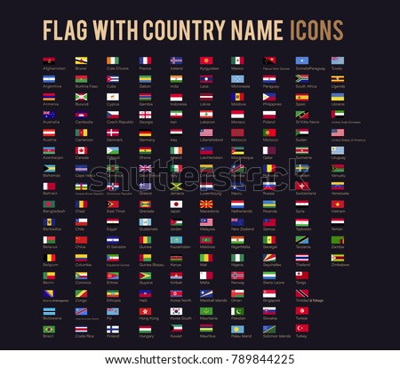 The vector flag with country name flat icon