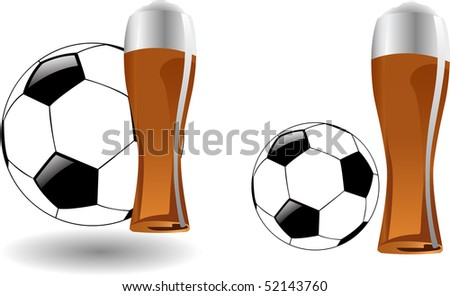the vector glass of beer with soccer ball