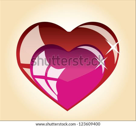 The vector graphics, two hearts of red and pink tones.