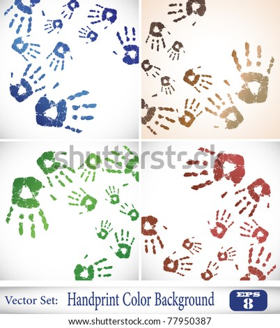 the vector handprint color background set eps 10