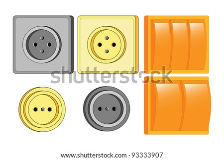 The vector illustration of modern electrical equipment, isolated on white, set.