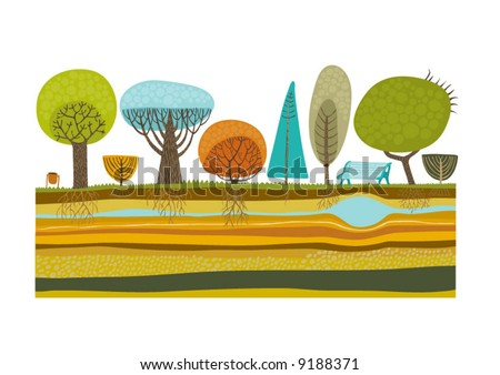The vector illustration of park trees set.