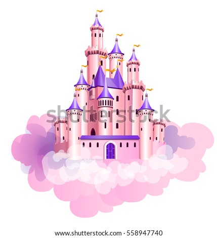 The vector illustration of pink princess magic castle in clouds.
