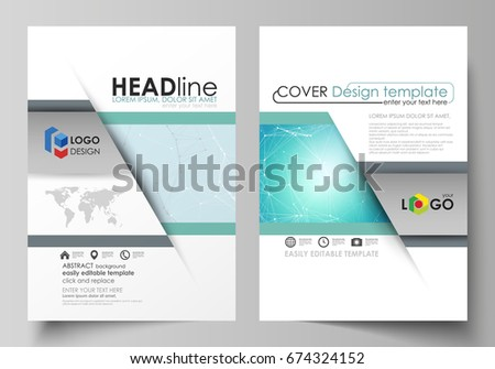The vector illustration of the editable layout of two A4 format modern covers design templates for brochure, magazine, flyer, report. Futuristic high tech background, dig data technology concept.