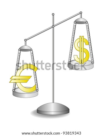 The vector illustration of the silver scales with the  golden emblems of the dollar and euro on them.