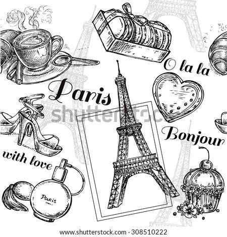 The vector illustration 'seamless pattern Paris' for design Foto stock ©