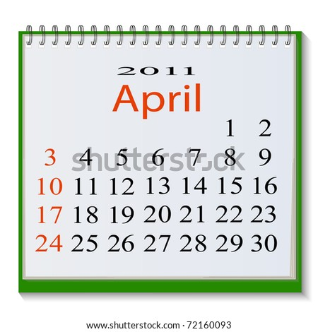 The vector image of a calendar for April, 2011. Vector illustration - stock vector