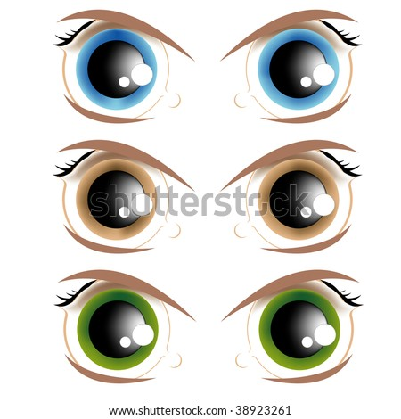 The vector image of animated eyes of different colour