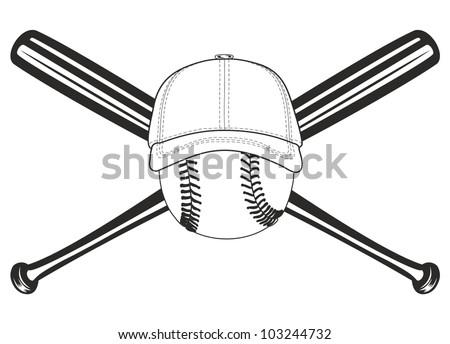 The vector image of baseball ball and crossed baseball bats - stock vector