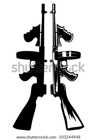 The vector image of the gangster submachine gun