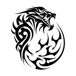 The vector image of the head of the growling lion. King of beasts. Power and wisdom. Black tribal tattoo. Vector illustration.