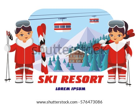 the  vector image of the skiers