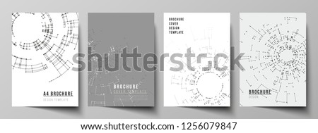 The vector layout of A4 format cover mockups design templates for brochure, flyer, booklet, report. Network connection concept with connecting lines and dots. Technology design, geometric background.