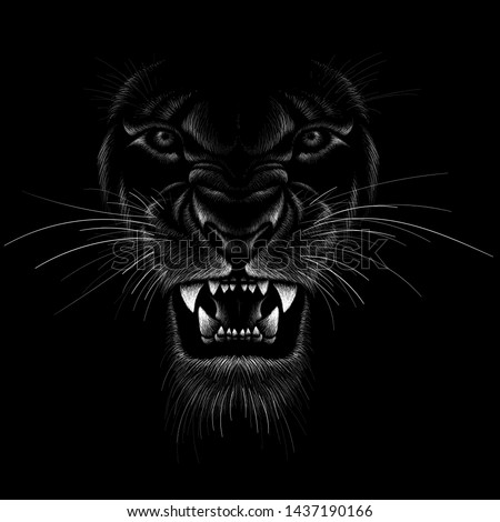 The Vector logo animal for tattoo or T-shirt  print design or outwear.  Hunting style angry animal head background.