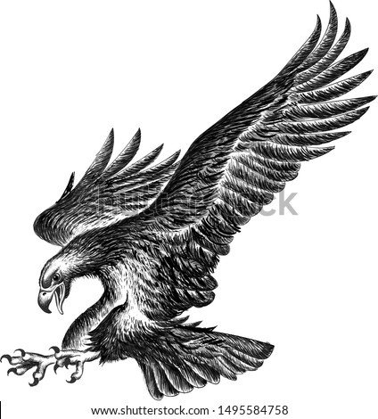 The Vector logo eagle for tattoo or T-shirt design or outwear.  Hunting style eagle background. This drawing is for  fabric or canvas.