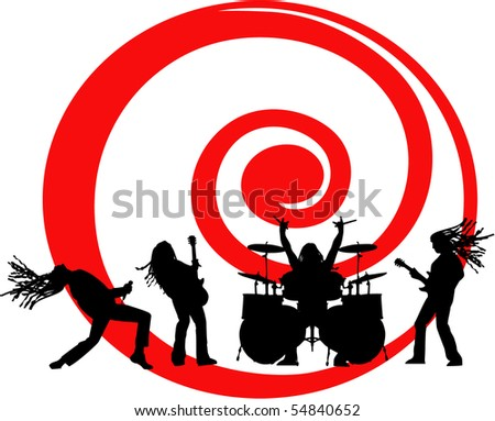 the vector musicians silhouette on red swirl eps 8 - stock vector