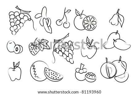 the vector set of fruit drawing icons