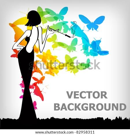 the Vector vintage retro woman background