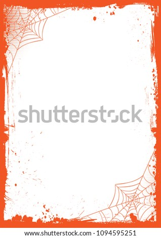 The vertical blank Halloween banner  background with grunge border and spider net