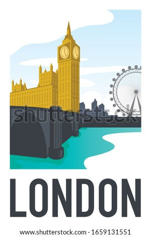 the view of big ben and parliament house with london skyline and london eye in the background as seen from the river thames. Handmade drawing vector illustration. Vintage style poster and sticker.