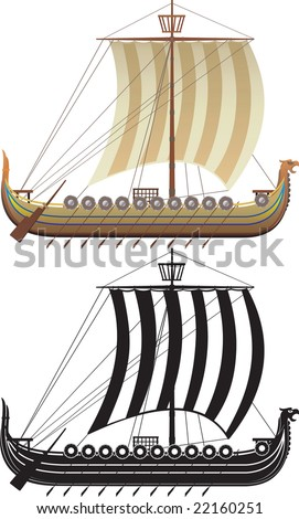 The Viking ship. The full version and a contour