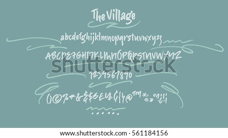 The Village handwritten font. Textured brush script with uppercase, lowercase, numbers and some punctuations symbols
