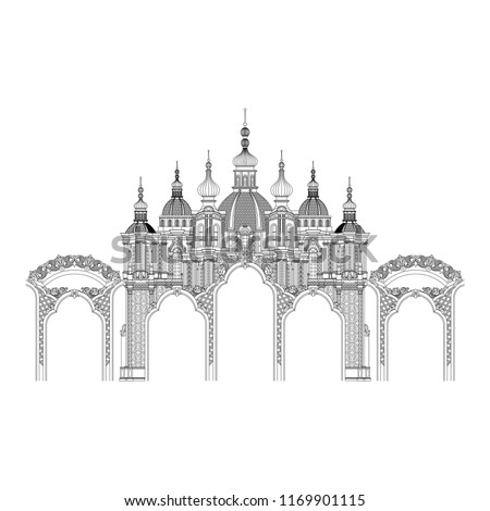 The vintage arch vector. Thin outline castle in linear style